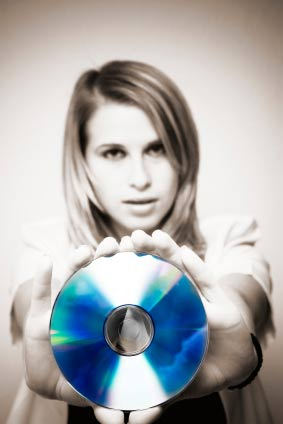 woman holding cd rom